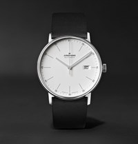 Junghans Form A 40Mm Automatic Stainless Steel And Leather Watch Black