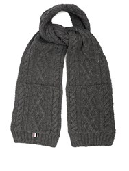 Thom Browne Cable Knit Wool Scarf Grey