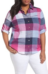 Foxcroft Plus Size Women's Reese Buffalo Check Shirt Navy Multi