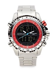 Saks Fifth Avenue Stainless Steel Link Watch Silver Red