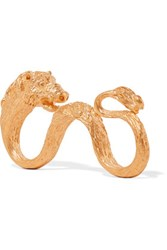 Valentino Pig Gold Plated Three Finger Ring One Size