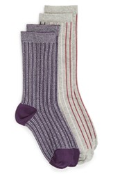 Treasure And Bond 2 Pack Vertical Stripe Crew Socks Heather Grey Multi