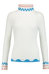 Peter Pilotto Stretch Knit Turtleneck Top White
