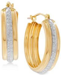 Macy's Two Tone Textured Hoop Earrings In 10K Gold And Rhodium Plate