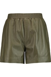 M Missoni Leather Shorts Green