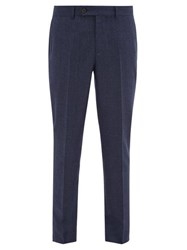 Brunello Cucinelli Pinpoint Wool Flannel Trousers Blue