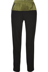 Ohne Titel Leather Trimmed Silk Tapered Pants Black