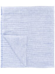 Corneliani Striped Scarf Men Silk Linen Flax One Size Blue