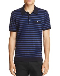 Todd Snyder Striped Silk Cotton Regular Fit Polo Sweater Navy