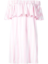 Maison Rabih Kayrouz Striped Off The Shoulder Dress Pink And Purple