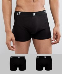 11 Degrees 2 Pack Boxer Trunks In Black