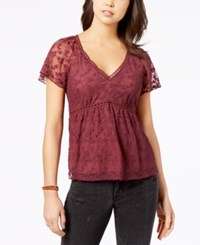 American Rag Juniors' Embroidered Lace Babydoll Top Created For Macy's Dusty Red