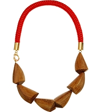Marni Wood And Nautical Cord Necklace Hot Red