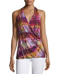 Petite Halter Neck Faux Wrap Top Gladiola Multi Women's Gladiola Multi Lafayette 148 New York