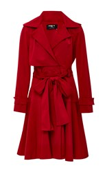 Paule Ka Belted Ottoman Trench Coat Red