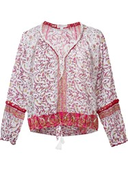 Poupette St Barth Embroidered Floral Blouse Pink Purple