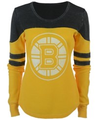 G3 Sports Women's Boston Bruins Hat Trick Thermal Long Sleeve T Shirt Black Yellowgreen