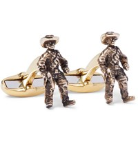 Paul Smith Cowboy Burnished Gold Tone Cufflinks Gold