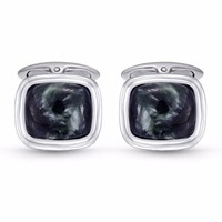 Lmj Seraphinite Stone Cufflinks Black Green Grey