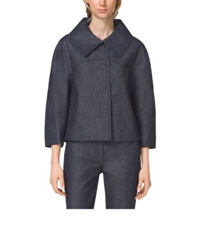 Michael Kors Denim Balmacaan Jacket Indigo