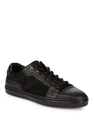 Brioni Suede And Leather Brouge Sneakers Black