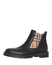 Burberry Leather Chelsea Boots With Archival Vintage Check Side Panels Black