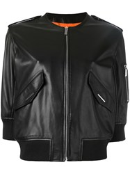 Barbara Bui Leather Bomber Jacket Black