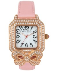 Betsey Johnson Women's Bow Gold Tone Pink Leather Strap Watch 36X45mm Shiny Gold