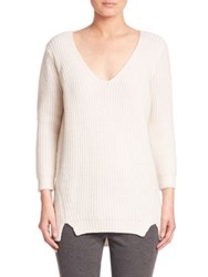 Elie Tahari Violetta Rib Knit Cashmere And Wool Sweater Antique Grey Melange