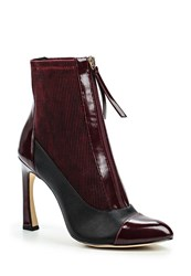 Lost Ink Avis Zip Front Stiletto Ankle Boots Ox Blood