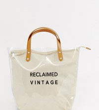 Reclaimed Vintage Inspired Clear Plastic Tote Bag With Logo Canvas Inner Brown