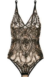I.D. Sarrieri Satin Trimmed Embroidered Tulle Bodysuit Black