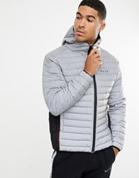 Nicce London Puffer Jacket In Reflective With Hood Grey