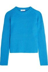 Carven Ribbed Knit Sweater Bright Blue