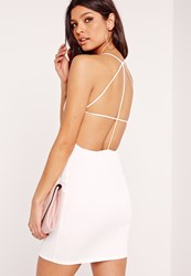 Missguided Strappy Ribbed Bodycon Dress White White