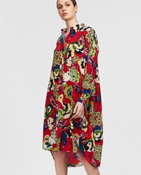 Aspesi Printed Silk Shirt Dress Deep Red