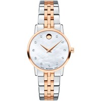 Movado 0607209 'S Museum Classic Diamond Bracelet Strap Watch Silver Rose Gold
