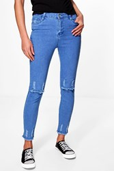 Boohoo High Rise Destroyed Knee Hem Skinny Jeans Dark Blue