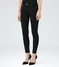 Reiss Alexis Womens Mid Rise Biker Jeans In Black