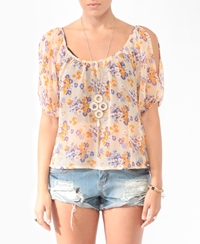 Forever 21 Floral Cutout Shoulder Blouse Peach Lavender