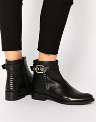 Dune Padston Black Leather Buckle Flat Ankle Boots