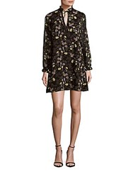 1.State Floral Tie Neck Shift Dress Silver Sand