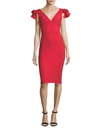 La Petite Robe Di Chiara Boni Belvis Rosette Bodycon Cocktail Dress Red