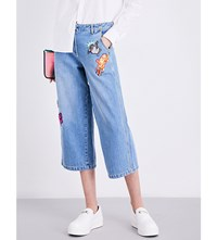 Kenzo Patch Detailed Mid Rise Wide Leg Jeans Storm Blue