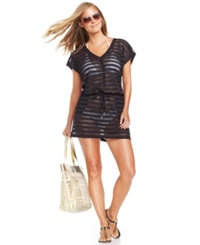 Calvin Klein Open Knit Striped Tunic Cover Up Women's Swimsuit Black