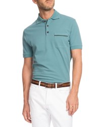 Berluti Leather Trim Polo Shirt Turquoise Blue