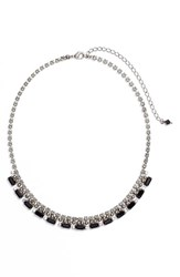 Sorrelli Fanned Baguette Crystal Necklace Black