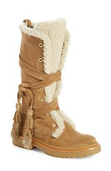 Women's Moncler 'Janis' Genuine Shearling Tall Boot With Genuine Rabbit Fur Trim