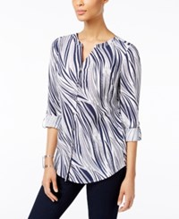Jm Collection Wavy Print Roll Tab Blouse Only At Macy's Indigo Wavy Dream