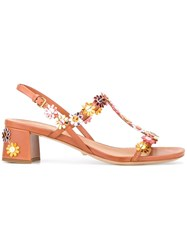 Car Shoe Floral Applique Sandals Brown